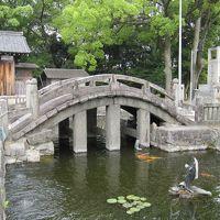 2012梅雨、知立神社(1):6月8日(1):鳥居、石橋、多宝塔、売店のアジサイと花菖蒲