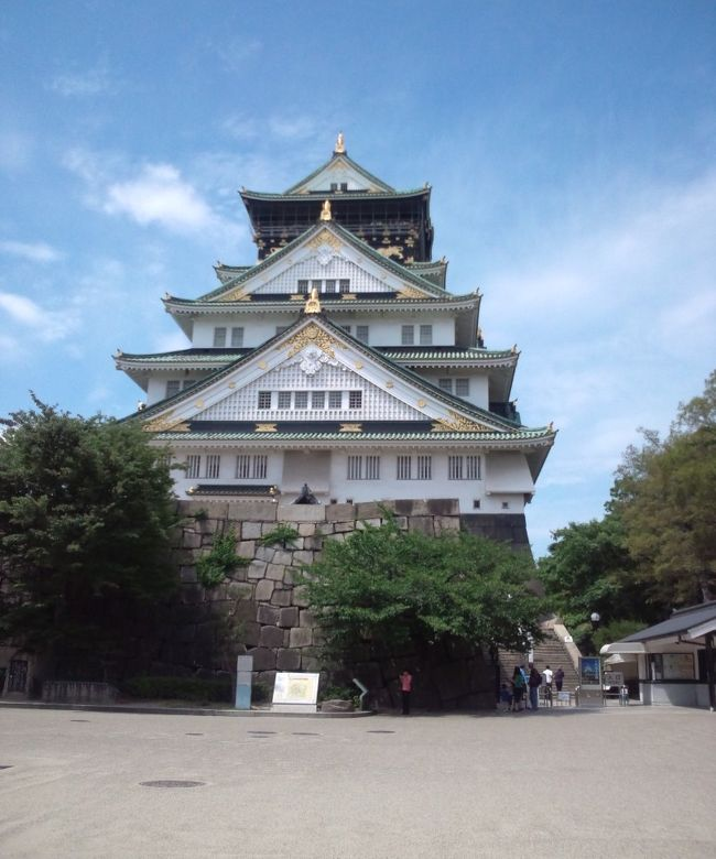 日帰り出張で大阪に行きました。梅雨入り前の清々しいお天気で、プライベートだったらもっとのんびり散策を楽しみたいところでした。<br />お仕事の合間に大阪城公園に行きました。広大な敷地の至る所から優美な大阪城の姿が見えました。公園内にはボランティアガイドの方が見受けられ、時間があれば説明を聞きながら散策すると、より満喫できたのでは思います。<br />帰り際に、お土産を買うべく梅田の阪急に行きました。都内でも買えるのですが、本店は大阪なので、堂島ロールを買いました。都内では、1本またはハーフでの販売ですが、大阪では1カットから購入できるのですね。1人で食べるにはハーフでもちょっと大きいな・・・といつも思っていたので、都内でも1カットから購入嬉しいですね。
