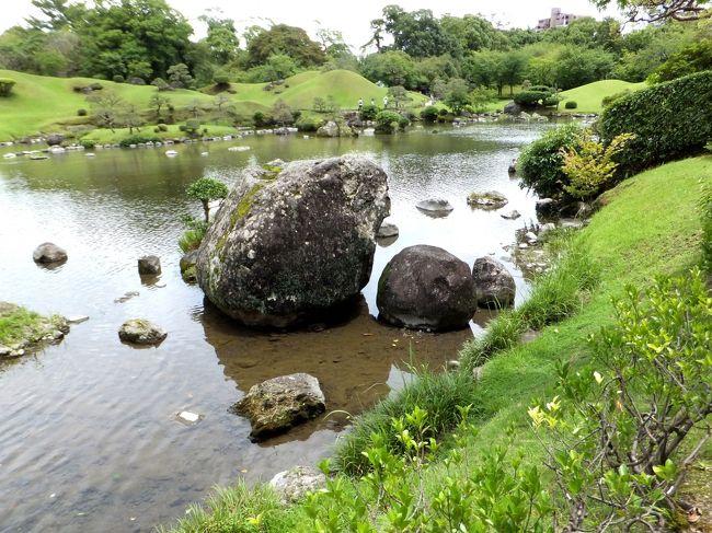 雨にたたられた四国旅行でしたが、皮肉なことに熊本(出発地)に戻ったとたんに快晴となりました。このままでは来た甲斐がないと思い、帰る間際になって水前寺公園への立ち寄りを決断いたしました。「終わりよければすべてよし」といいますが、それでも総合天は30点程度かと思います。いつかリベンジしたいと思います。
