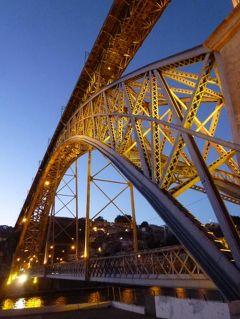 優雅なポルトガル旅・憧れのマデイラ島でバカンス♪ Vol142(第13日目夜) ☆ポルト:黄昏の美しいドウロ川と「ドン・ルイス1世橋」を眺めて♪