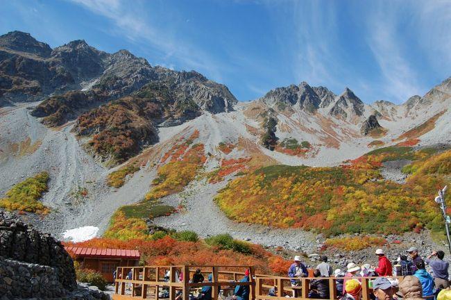 紅葉と雪を見たくて34年ぶりに北アルプスの奥穂高岳(奥穂)に登りました。上高地はまだ紅葉は始まっていませんが涸沢付近は見事な紅葉でした。例年10月10日前後が紅葉のベストシーズンで、3連休後でしたが多くの方が来ていました。涸沢ヒュッテでは1枚のフトンに3人寝る混み用でしたが、ちょっと厳しい岩山を2時間半登った穂高山荘は1人1枚でまだ余裕がありました。2日目穂高山荘に付いた日は雪がなかったのですが3日朝、奥穂山頂に立ったころに飛騨側からの強い風と雪が叩きつけ冬山の感じも味わえ満足しました。<br />行程(10月9日〜12日)<br /> 1日目 自宅→車→平湯温泉駐車場→バス→上高地⇒明神池⇒徳沢(テント泊)<br /> 2日目 徳沢⇒横尾⇒涸沢⇒穂高山荘(小屋泊)<br /> 3日目 穂高山荘⇒奥穂高岳⇒穂高山荘⇒涸沢⇒横尾⇒徳沢(テント泊)<br /> 4日目 徳沢⇒上高地→バス→平湯温泉駐車場→車→自宅