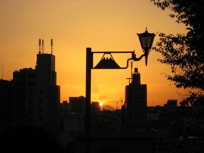 '12 西日暮里の富士見坂のダイヤモンド富士を見に行った