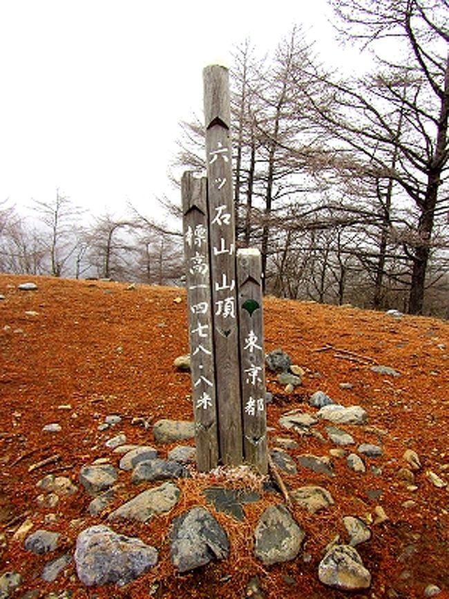 12月1日、今年最後の山歩きに選んだのは奥多摩の六つ石山。<br />2週連続の奥多摩である。<br />天気予報では終日曇り。とりあえず雨の心配はない。<br />9時頃にスタートし、15時台には下山というスケジュール。<br /><br />六つ石山の登山コースはいくつかあるが、今回は奥多摩湖近くの水根から入り、石尾根を下って来るルート。<br />この石尾根、途中は防火尾根になっており視界は良いらしい。かつ長い。<br /><br />こんな事前情報でいよいよスタート。<br />しかしまさかこの後、驚きの展開になるとは…