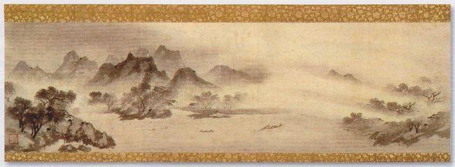 「八景」のおこりは中国にあります。<br /><br />中国湖南省の瀟江(しょうこう)と湘江(しょうこう)と呼ばれる川が合流して洞庭湖に注ぐあたりは「瀟湘(しょうしょう)」という景勝地になっています。<br />11世紀に、その景勝地から八カ所を選んで「瀟湘(しょうしょう八景」として水墨画の画題としたことから「八景」が始まったといわれています。<br /><br />「瀟湘八景」は次の八つからなっています。<br /><br />1 瀟湘夜雨(しょうしょうやう):瀟湘の上にもの寂しく降る夜の雨の風景<br />2 平沙落雁(へいさらくがん):秋の雁が鍵になって干潟に舞い降りてくる風景<br />3 烟寺晩鐘(えんじばんしょう):夕霧に煙る遠くの寺より届く鐘の音を聞きながら迎える夜<br />4 山市晴嵐(さんしせいらん):山里が山霞に煙って見える風景<br />5 江天暮雪(こうてんぼせつ):日暮れの河の上に舞い降る雪の風景<br />6 漁村夕照(ぎょそんせきしょう):夕焼けに染まるうら寂しい漁村の風景<br />7 洞庭秋月(どうていしゅうげつ):洞庭湖の上にさえ渡る秋の月<br />8 遠浦帰帆(おんぽきはん):帆かけ舟が夕暮れどきに遠方より戻ってくる風景<br /><br />図は13世紀後半の僧で、水墨画家として名高い牧谿(もっけい)筆の「漁村夕照図」(国宝・根津美術館蔵)です。<br /><br />夕闇迫る漁村の風景が描きだされています。