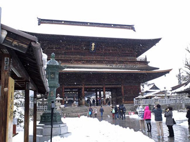「遠くとも 一度は詣れ 善光寺」と言われました、<br /><br />善光寺は無宗派と今回初めて知りました。<br />1998年冬季オリンピックは、<br />善光寺の鐘楼の鐘の合図で開会式が始まり<br />素晴らしかったですね。<br /><br /><br />この日は雪でしたが、<br />一層厳かな感じがしました。<br /><br />おかげで「お戒壇巡り」は<br />待たずに入ることができました。<br /><br /><br />お土産は有名な八幡屋磯五郎の七味。<br /><br />400円ほどの赤い缶入りは<br />ウェディングのギフトとしても人気で、<br />お願いすれば、新郎新婦の名前を刻印してくれるとか。<br /><br /><br />干支の人形を買いぞびれ、<br />東京では見つかりませんでしたが、<br />さすがにここの参道で見つけました(笑)<br /><br />