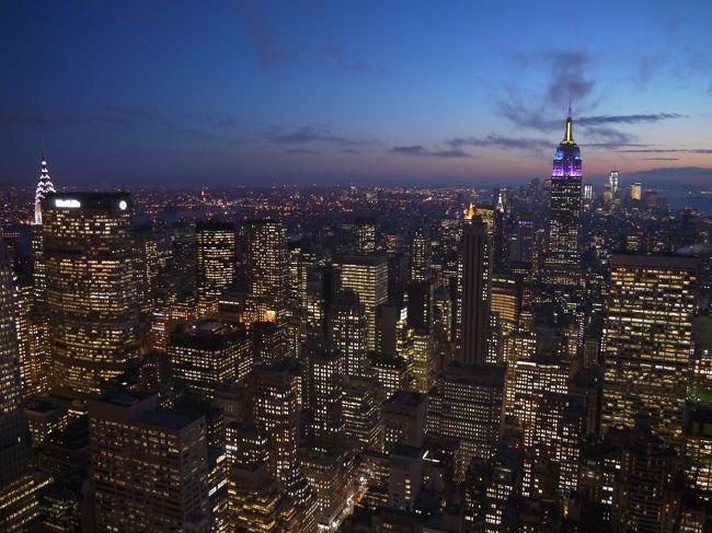 2011年11月にニューヨークに行きました。<br />少し時間が経っていますが、旅行記として整理してみました。<br />海外へ一人で行く時は、1都市に滞在して街中を歩きまわる、というスタイルですが、この時はニューヨークで7泊しました。<br /><br />1日目<br />昼過ぎに到着後、グレイラインのダウンタウンループとナイトツアーに乗車<br />2日目<br />イントレピッド海洋航空宇宙博物館、アメリカ自然史博物館<br />3日目<br />グレイラインのアップタウンループに乗ってメトロポリタン美術館へ<br />4日目<br />自由の女神、五番街、セントラルパーク動物園、夜景ツアー<br />5日目<br />トップ・オブ・ザ・ロック、ハーレム・ウォーキング・ツアー、MOMA<br />6日目<br />エンパイヤ・ステート・ビル、国連本部、ウォール街、ブルックリン橋<br />7日目<br />ユニオンスクエア、ソーホー、セントラルパーク<br />8日目<br />帰国