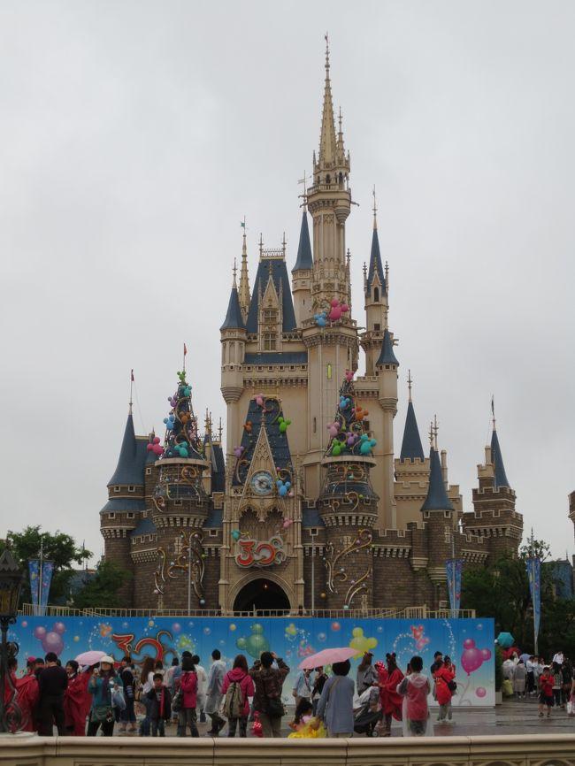 小学校の代休を使って行きました、家族で日帰り東京ディズニーランド<br /><br />パパ、ママ(私)、娘(4年生)、息子(1年生)<br /><br />予報では、時々雨とのことだったのに…<br />午前中も午後もけっこうな降り方です<br /><br />首都高から、いつも見えるスカイツリーが全く見えません<br />厚い雨雲に覆われています<br /><br />首都圏平日パスポートで、少々お安く入園できる時期でした