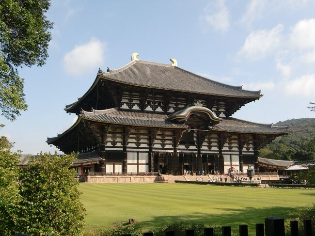 修学旅行でも行った事がなかったので奈良公園と東大寺へ。奈良公園内には野生のシカが本当にいた!人を怖がらす、襲わずおとなしい。餌を持っている人間には群がる習性があるようだ。東大寺のは受付後の正面からの眺めが一番見とれる。中は時計回りで見学。