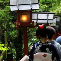 京都 貴船神社 七夕飾りライトアップ〜貴船川 川床 川沿いの道を歩いて