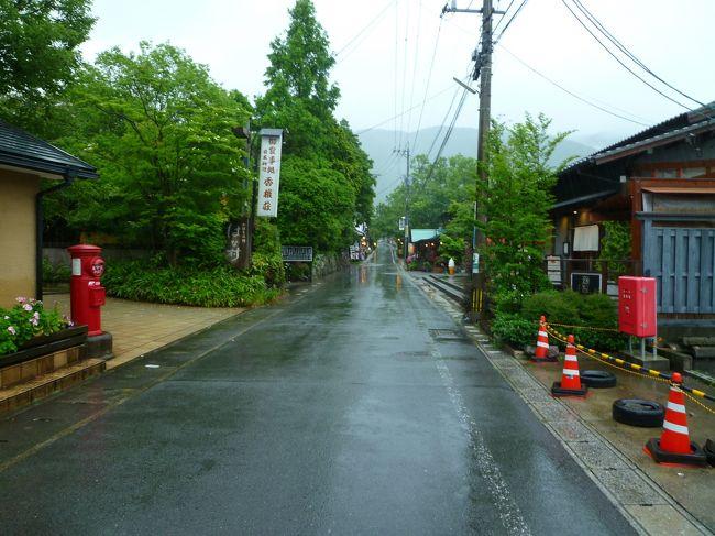 台風4号が九州へ近づく中、大雨の湯布院に行って来ました…。<br />事前に予定が決まっていたとは言え、想像以上の大雨…。<br /><br />到着後、人っ子1人いない【湯の坪街道】に驚きながら【茄子屋】で昼食を食べた後、温泉は諦めて前から行ってみたかった【トリックアート迷宮館】を見た後、土日は空き待ち必至の【Cafe La Ruche】で、ほぼ貸し切り状態でコーヒーを飲み、早々に引き揚げて帰って来ました…(笑)