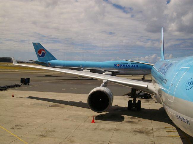 帰国便は、ハワイアン航空と共同運航便です。チケット代が少し浮いたかなぁ〜。我が家の母さんは、満足そうです。(笑い)往路の時間○○円のアルバイトは、エコノミ〜に耐える?為の準備運動感覚でインチョンの空気吸ってました。まあ、乗り継ぎ時間は、50分程度でインチョン空港の探索も出来ず、楽なアルバイト感覚の乗継でしたが、復路は約3時間程度ありますので探索しますよ。折角、韓国にいるのだから夕食?は、韓国編で食べてみましょう。(笑い)ところで、ホノルル空港に欧州で不評のへんてこりんな機械で、体の検査します。(笑い)採用されましたよ、身ぐるみ剥がす機械?。