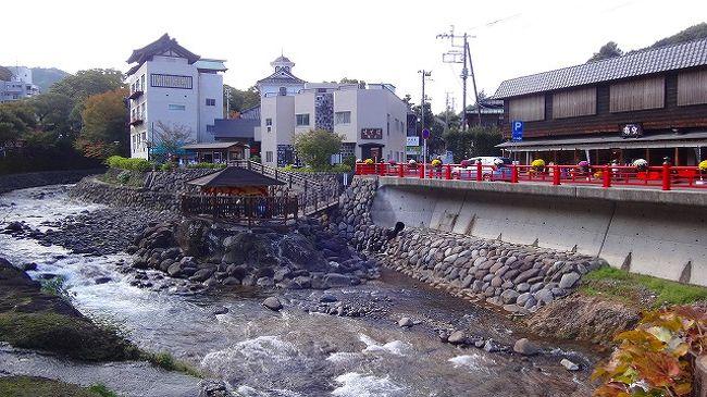 2013年9月28日(土)〜11月15日(金)の間、修善寺温泉街で菊花まつりをしていました。<br /><br />虹の郷からの帰り道、昼食を兼ねて温泉街の一部を散策してきました。<br /><br />写真は、桂川に建つ足湯「独鈷の湯」と奥の新井旅館。