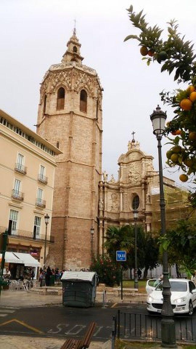11月15日 曇り後雨<br />マドリッド、バルセロナに次ぐスペイン第三の都市がバレシアです。バレンシアの意味は「明るい」とか「晴れ渡った」という意味だそうで雨量も少ないのだそうですが、皮肉にも当日は曇りから雨になってしまいました。しかもツアー初めての曇天と雨でした。(泣)<br />名産品は地中海沿岸地域特有の温暖な気候と豊かな土地を活かした「オレンジ」の一大生産地として有名です。<br />街を散策したイメージは、旧市街はあちこちでモルタル剥げの修理をしており、コルドバやセビリアの旧市街に比べると・・・という感じでした。<br /><br />トップページは世界文化遺産ではないですが、モスク跡に14世紀末に完成した大聖堂の八角形の「ミゲレテの塔」としました。前景に名産品のオレンジとオシャレな街灯を入れています。大聖堂は17世紀にも手を加えられており、門は南側の「パウラの門」はロマネスク、北側の「使徒の門」はゴシック、「ファサード」はバロックと三様式が混在しています。<br /><br />スケジュール<br />9時00分 ホテル出発<br />9時15分 バレンシア散策のスタートは今も2つ残る城門の一つ<br />    「セラーノ門」から<br />    バレンシアの議事堂を通り聖母広場へ、地元に愛されるバジリカの中を一回り→大聖堂の3つのドアを見るため一回り<br />      ①14世紀のゴシックの入口(12使徒の門)           ②13世紀のロマネスク門(南側)<br />      ③バロック様式の門(正面の門)<br />     大聖堂の鐘楼は八角形のミゲルテの塔(高さ51m)<br />     大聖堂の中の礼拝堂ではミサ中、キリストの最後の晩餐で行われたとされる「メノウの聖杯」を遠目で見学<br />フリータイム20分後、サークル(街の「穴」)にはテキスタイル関連のショップ<br />10時18分 中央市場(特に賑わう土曜の午前中で活気)、キューポラの天辺にはおしゃべりな女性<br />を象徴するオウム<br />11時15分 ヨーロッパ最大の昔は絹の交易所だったラ・ロンハへ 中庭→柱のサロン(契約の間)螺旋状の柱が織りなす空間→塔の入口(螺旋階段の曲線が美しい)→海の領事の間 (ここには商事裁判所があった)→2階倉庫(天井は旧市庁舎から持って来たもの)<br />11時40分 レストラン BRUSELAS でランチ<br />カボチャスープ、サーモンのオレンジソースかけ、チーズケーキ<br />サービス・ドリンクとしてミステラというバレンシアワイン<br />15時15分 サービスエリアでWCとお土産<br />17時50分 カサ・フステルホテル到着 3名が宿泊<br />18時30分 ホテル到着 H10 MARINA BARCELONA<br />19時50分 レストラン <br />    FONDA DEL PORT OLIMPICでディナー<br /> 野菜ソテー(ねぎとピーマン)、2種のパエリア(ミックスとイカスミ)、アイス<br />クレマカタラナのヨットハーバー近くのレストラン 低気圧の影響で雷雨と強風<br />21時40分 ホテル着<br />