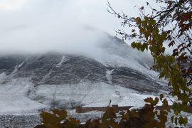 2012秋、イラン旅行記(43):11月22日(2):アブヤネ村(2):紅葉と雪山の景色、赤色の村、ナン焼の店、三毛猫