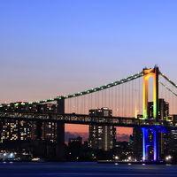 七色に輝くレインボーブリッジ&東京タワー☆晴海ふ頭から見る東京の夜景