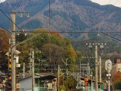 京都-5 叡山電車 =もみじのトンネル=徐行運転 ☆比叡山が正面に