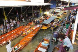 2013冬、タイ王国旅行記2(29)ヌサドゥア、水上マーケット到着、階上からの水上の眺め