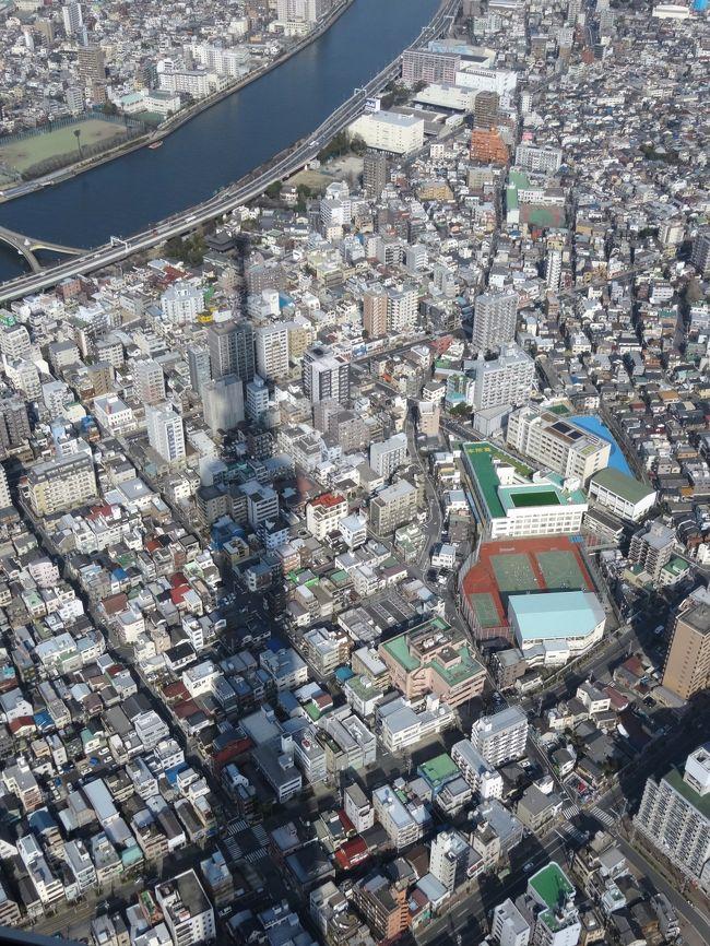 はとバスツアー<br />「浅草観音と東京スカイツリー 天望デッキ&東京ソラマチ」 9800円<br /><br />都民ですが、参加してまいりました!<br /><br />なかなか、人気のコースだったようで、予約時点で土曜は2週間後まで満席のため、三週間後で予約いたしました。<br /><br />大まかな実際の行程(あくまで参考にしてください。交通渋滞はなかったですが、土曜だから観光地の混雑は凄かったです。)<br /> 9:10 東京駅出発<br /> 9:35 スカイツリー付近到着<br /> 9:50 ソラマチ自由散策開始<br />10:50 天望デッキへ移動<br />11:10 天望デッキ到着<br />12:30 スカイツリー出発<br />12:45 浅草着<br />12:50 葵丸進着<br />13:20 天ぷら定食完食 浅草観光開始<br />15:00 浅草出発<br />15:25 東京駅到着<br /><br /><br />※写真は、スカイツリー天望デッキより。下界(笑)と、スカイツリーの影が印象的です♪