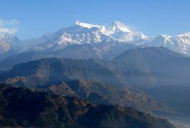 2014新春、ネパール旅行記(27)1月25日(3):ポカラ、サランコットの丘の上から眺めたヒマラヤ連峰