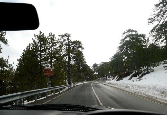 2013.12年末年始キプロス旅行10-トロードスへ Kakopetriaへのドライブ,地中海で雪?!