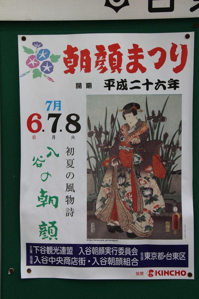 毎年7月7日七夕を挟んでもようされる東京入谷の朝顔市。<br />梅雨の晴れ間となった6日に出かけた。