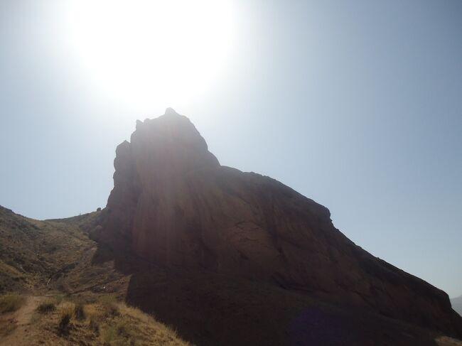 ガズヴィンからくねくねした山道を登っていく。120キロほどの距離だが、3時間ほどかかった。途中、水の豊かな川を渡る。稲穂が風に揺れていた。<br />ハサン・サバーは、1000年前の暗殺集団の長としてここに拠点を置いた。そして180年間、イラン人に恐怖を与え続けたという。<br />駐車場で車を降りて、山頂にある城塞を見上げる。のけぞらないと見えないくらいの高さにある。最初から急こう配の上り坂、小石で足が滑るため余計に疲れる。もう息が切れてくる。と、4歳くらいの子供を連れた家族連れとすれ違った。こんなところでへたっている場合ではない、と自分に叱咤激励しつつ登っていく。少し行くと階段が作られていた。一定のスペースを保って30分ほど登っていくと、一番門についた。周りは山、山。まだ山頂は見えない。さらに上っていくと、おじいさんがつくねんと石に腰かけていた。下の村に住んでいて、毎日!管理のために上ってくるのだそうだ。脱帽。<br />山頂には、当時使われていた部屋やイスラム寺院、貯水槽などが残っていた。日光を遮断するようにそれらの建物群の上に屋根が設えてあった。そこを抜けると高見台に出る。外国人、イラン人が、涼しい風に吹かれながら楽しそうにおしゃべりしていた。ずっと下に村が緑に輝いていた。<br />昼食は、駐車場そばにあった、家族経営の食堂で取る。広い敷地に大きな木々が木陰を作っていた。日本の床几を広く、大きくしたような台・タフテが置いてある。そこに座って、涼しい風に吹かれながら食べたチキンキャバーブは、とてもおいしかった。<br />