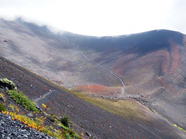 猛暑の夏も終わり、9月にトレッキング仲間10名で、表富士の中腹にある宝永山に登って来ました。<br />富士山には、若い頃、二度登ったことがありますが、宝永山は仲間の皆さんも殆どの人が初めてです。<br />御殿場から富士山スカイラインで富士宮口五合目まで車で行くと、それ程苦労しなくても楽しめるコースで、小学生の団体も沢山来ていました。<br />今回の宝永山トレッキングのおかげで、今後、富士山を見る時は、より親しみが湧くことと思います。<br />写真の右上が宝永山の山頂、左側は富士山頂に続き、真ん中は宝永山の第一火口です。