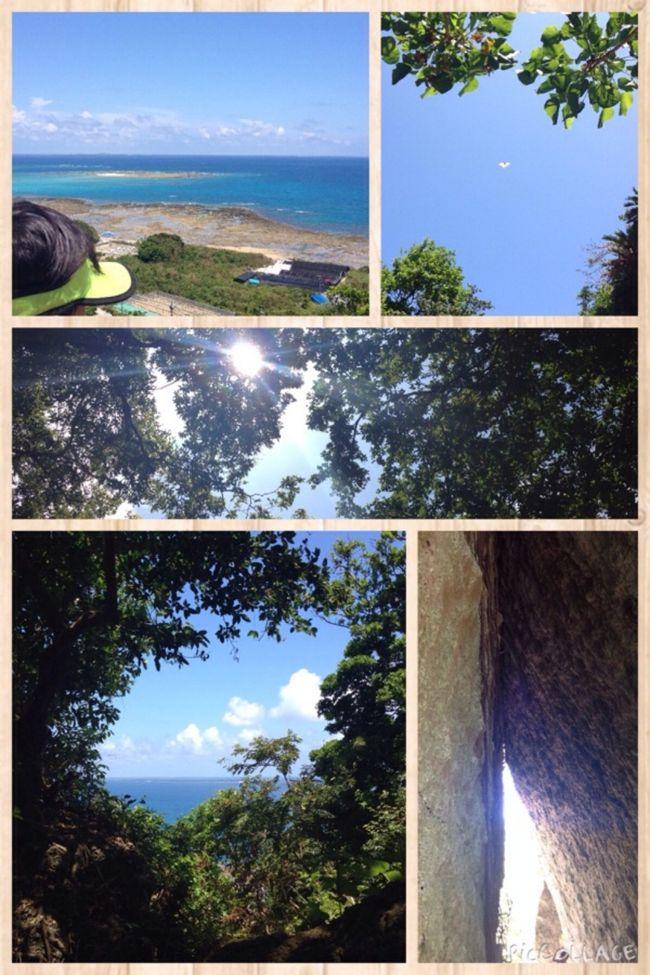 家族で3度目の沖縄。<br /><br />2回目までは到着後すぐに宿泊先の北へ向かっていたのですが、今回は早く到着したこともあり、南へ向かいました。<br /><br />ぜひ行ってみたかった斎場御嶽へ。<br /><br />暑い中でしたが、不思議な事に御嶽内ではあまり暑さを感じなかった気がしました。<br /><br />自然に囲まれ全てに感謝したくなる不思議な空間でした。<br /><br />その後は宮城島のぬちまーす工場見学。<br /><br />宿泊先は名護市だったので、見学の後はホテルへ向かいました。<br /><br /><br />2日目は備瀬崎<br /><br />3日目は古宇利島<br /><br />4日目は恩納村 万座毛<br /><br />5日目は台風で早朝から大慌てで空港へ。