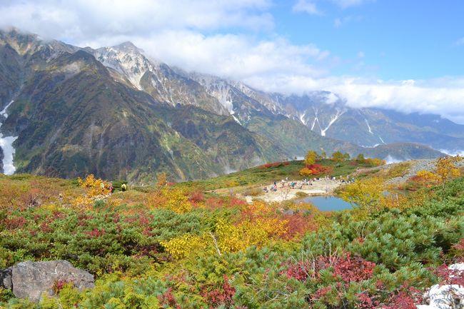 毎年シーズンに何度も滑りに行くお気に入りのゲレンデの上は一体どうなっているのか?<br />初めて訪れた八方池の素晴らしさ、紅葉狩りにドンピシャだったので最高の一日を過ごしました。<br />これを見た方すぐに登山計画をぜひ。今週がチャンスです。<br /><br />快晴の青空は午前中のみ、朝早く起きた人だけ青空を見ることが出来ました。<br />昼過ぎは山の上に厚く雲が。山の中腹もガスだらけでした。