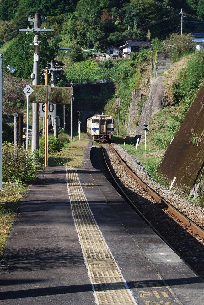 10月17日、午後2時50分頃に岩屋神社に行った帰りに珍しい駅舎が見られたために立ち寄った。<br />そこは日田・彦山線の筑前岩屋駅であった。駅舎は1996年に建てられた。<br /><br />○筑前岩屋駅・・・説明文による<br />駅脇には日田彦山線釈迦岳トンネルの湧水が引かれており、これを汲むことができる(岩屋湧水)。この湧水は元は旧国鉄が蒸気機関車の給水用に、トンネルの掘削時に湧出した地下水を引く導水管を敷設したものである。その後2003年に地元の宝珠山村(当時)が給水場を整備した。当初は誰でも自由に汲める湧水であったが、2008年に環境省が平成の名水百選に選出したことで訪問者が急増し、悪質な例も続出したことから、2009年12月より有料による自動給水装置での供給に変更されている。<br /><br /><br />*写真は筑前岩屋駅と彦山駅の間にある九州在来線の中で第二の長さ4379mもある釈迦岳トンネルから出てきた日田行きの列車