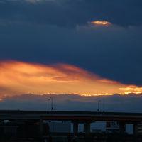 明けましておめでとうございます、平成27年 荒川の初日の出 雲がかって