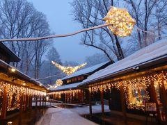 美しい雪景色の軽井沢 冬のバカンス♪ Vol4(第3日目)☆中軽井沢:ヨーロッパのような美しい雪の「ハルニレテラス」で優雅なディナー♪