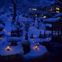 会津の老舗旅館「向瀧」の雪見ろうそく
