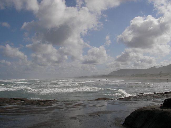 ムリワイ・ビーチはオークランドから42kmほど北西にあるタスマン海に臨む沿岸部。<br />タスマン海のぶっつけの潮、荒々しい波頭、日の光の加減で刻々とその相貌を変える景色。<br />そんな切り立った沿岸部の崖の上には、カツオドリたちの宿営地があります。カツオドリたちはオーストラリアからムリワイビーチに帰ってきてここで卵を産み、雛をかえし、育て、またオーストラリアに巣立っていきます。<br />まさにカツオドリの故郷。<br /><br />私の大好きだったTV番組「生き物地球紀行」そのまんまの景色が広がります。