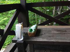 六甲高山植物園 園内散策後、山小屋カフェエーデルワイスのテラス席で昼食。