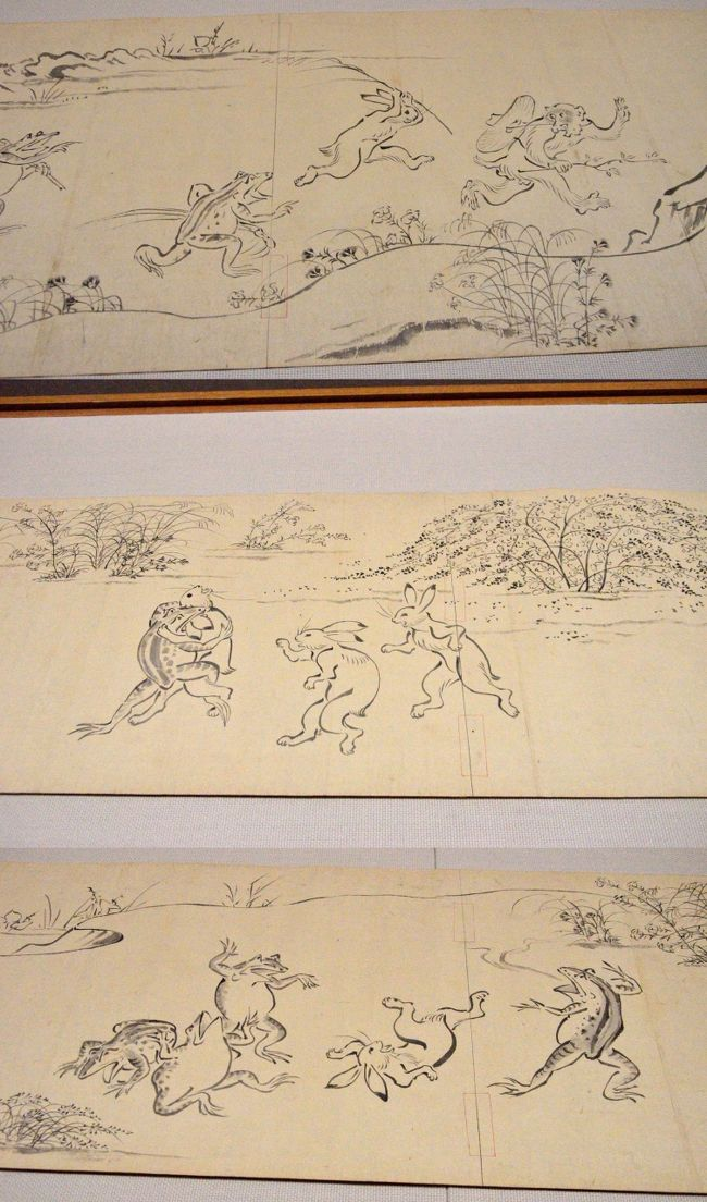 連れ合いが東京国立博物館(略称トーハク)の特別展示企画「鳥獣戯画展」を見て、東京で音楽教師をしている姪と食事をしたいということで、久しぶりの上京。<br />午前中、旧古河庭園で薔薇の鑑賞をしてから上野に移動。しかし、ここで当初予定を大幅変更。鳥獣戯画展は大変な人出で大混雑。チケット売り場で、「ただいま、150分待ちですが、入場しますか?」と念押しされる。え〜!!2時間半!<br />そんな行列をしてまで見たいほど鳥獣戯画に思い入れはない。鳥獣戯画大好きの連れ合いは、それでも見るというので、別々の行動をとることに。<br />前から気になっていた法隆寺宝物館に行ってみようとしたのだが、間が悪いことにこの日から来年3月まで工事で閉館だという。う〜ん、困った! やむなく、今どんな展示があるのかわけもわからず、トーハク本館の日本ギャラリーにでも行って、連れ合いが鳥獣戯画を見終わるのを待つことになった。<br />本館では、刀剣の展示に群がる若い女性集団に遭遇。そのパワーに気圧される思いをした。また、思いがけず明治時代の画家、山崎董詮という人物の手による鳥獣戯画の模写が展示されていた。こちらはガラ空き、たっぷり時間をかけて見られるし、写真撮影までOKなのだ。本物ではないと言ってしまえば、それまでだが・・・・