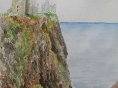 (29) スーツケースを提げて急な石段を上がる、 ダーノター城