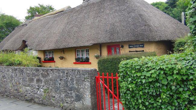 6月12日 コーク泊<br />今日はリムリックからコークに向かう。<br />まずはリムリックから車で30分ほどのアデアへ。<br />その後ボンラティ城、ボンラティ民芸村にも。<br />アデアは[アイルランドで最も可愛い村]と言われているそうでそんな可愛い村なら是非行ってみたい。やってきました。<br />可愛い! 思わず声にでる。<br />確かに一軒、一軒がおとぎ話に出てくるような藁ぶき屋根の小さな家。特に道路沿いにはそれぞれの形の藁ぶき屋根が一層可愛さを誘います。<br />これらはの家は思っていたよりも少なくほんのわずかでしたがそれでもひと目見よう大勢の観光客が訪れていました。<br />私もその一人ですが(笑)<br /><br />6月6日 名古屋発 ヘルシンキ経由 ダブリン着<br />6月7日 グレンダーロッホ    キルケニー 泊<br />6月8日 ブラウニー城      コーク泊<br />6月9日  キンセール、コーブ  コーク泊<br />6月10日 キラーニー国立公園   コーク泊<br />6月11日 リムリック街歩き   リムリック泊<br />6月12日 アデア バンラッティ民芸村、バンラッティ城、モハーの断崖、巨人のテーブル         ゴールウェイ泊<br />6月13日 ゴールウエィ街歩き   ゴールウェイ泊<br />6月14日 タラの丘、ドロヘダ街歩き ドロヘダ泊<br />6月15日 ジャイアンツ・コーズウェイ ベルファスト泊<br />6月16日 ベルファスト街歩き     ブルファスト泊<br />6月17日〜20日          ダブリン泊<br />6月21日ダブリン発 <br />6月22日名古屋着