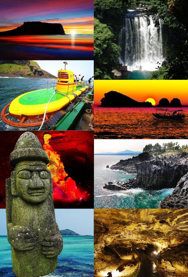 済州島のメジャースポットを観光した旅行記です。<br />写真だけでも眺めていただけたら嬉しいです。<br />よろしくお願いします。<br />旅行記作成にあたり、色々お世話になったトラベラーの皆さんにも感謝いたします。<br /><br />【遠出はできない・・】<br />家族でハワイ旅行に行った後ですから夏は数日の夏休みが取れても、それでは遠出は出来ないですし、何もない夏もちょっと寂しい。<br /><br />【激安済州島ツアー】<br />2015年6月にふとメールを見たら済州島の2泊3日の安いツアーがありました。<br />とりあえず、『航空券』+『ホテル』のみというものです。<br />ホテルの送迎はありますが、行きも帰りも免税店などに寄ることが条件らしく、<br />送迎をキャンセルすると料金が発生します。<br />ということで、そのまま申し込みました。<br />済州島は初めてです。<br />2015年は日韓国交正常化50周年にも関わらず韓国も色々なことが勃発して、日本の観光客も減り気味とか。<br />そこをチャンスととらえて済州島に乗り込みました。<br /><br />【メンバー】<br />相方とふたり旅です。<br />娘は韓国には行ったことがあるので今回はパスだそうです。<br /><br />【タクシーチャーター】<br />4トラの旅行記と口コミをチェックすると、効率よく観光するにはタクシーチャーターが良さそうです。<br />済州島のタクシーはソウルのタクシーと比較するとかなり安心といえます。<br />乗車拒否や改造メーターなど悪質なタクシーは無いとは断言できませんが、無いに等しいぐらい安心です。<br />そこで、1日目はホテルにお昼過ぎに付く予定なのでタクシーを拾いながらの観光にしました。<br />2日目と3日目は終日『日本語タクシー』を日本から予約しました。<br /><br />【日本語可能なタクシーチャーター代】<br />1日タクシー料金は8時間 で10,000円~11,000円 (韓国ウォン100,000 ) ぐらいです。延長料金は1時間毎に1,000円ぐらいです。<br />出発時間は午前9時-10時頃が多いようですが私は午前8時出発をお願いしました。一般的な到着時間は 午後5時-6時頃を目安に計画すると良いようです。<br /> <br />ちなみに半日タクシー料金:4時間 7,000円~9,000円  ( 韓国ウォン70,000~80,000 ) <br />延長料金は1時間毎に1,000円ぐらいが多いです。<br />出発時間は自由です。<br />(半日タクシーは割高になる率が高いので注意です。)<br /><br />【チャーターの支払い日本円が得】<br />2015年7月現在10,000円で韓国ウォン100,000は無いですから日本円で支払う方がお得です。<br /><br />【朴(パク)さんタクシー】<br />私が日本から予約したのは『朴さんタクシー』です。<br />日本語を話せるドライバー件日本語ガイドもしてくれる済州島でも有名人。<br />有名人だけに安心というのもあります。<br />朴さん本人も写真撮影が大好きで撮影ポイントにも詳しいので、<br />写真撮影重視の私にとっても都合がいいのです。<br />ということでタクシーチャーターを2日目と3日目の2日間予約しました。<br />料金も日本円で1日8時間10,000円、延長料金は1時間毎に1,000円なので分かりやすいです。<br /><br />済州島観光日本語タクシー朴サンウンHP<br />http://jejutourtaxi.net/<br /><br />【旅スケジュール】<br />■07/14<br />関空09:00発 KE-734 : 済州国際空港10:40着<br />到着後、現地係員がお出迎え。免税店1店に案内後、ホテルへ<br />(※免税店に寄らずホテルに直行できました。)<br />主な観光場所<br />旧済州<br />・【龍頭岩(ヨンドゥアム)】<br />・【三姓穴(サムソンヒョル)】<br />・遅い昼食【三代グクス会館】で『コギグクス』<br />・【済州島民俗自然史博物館(チェジュドミンソクチャヨンサパンムルグァン)】<br />・夕食【オメフッテジ(オメ黒豚)】で『黒豚の五枚肉(オギョプサル)』など<br /><br />■07/15<br />日本語タクシーチャーターで終日観光<br />《 済州島の東側の観光スポットへ 》<br />・【サングムプリ】カルデラ状の陥没景観<br />・【城邑民俗村(ソンウプミンソクチョン)】<br