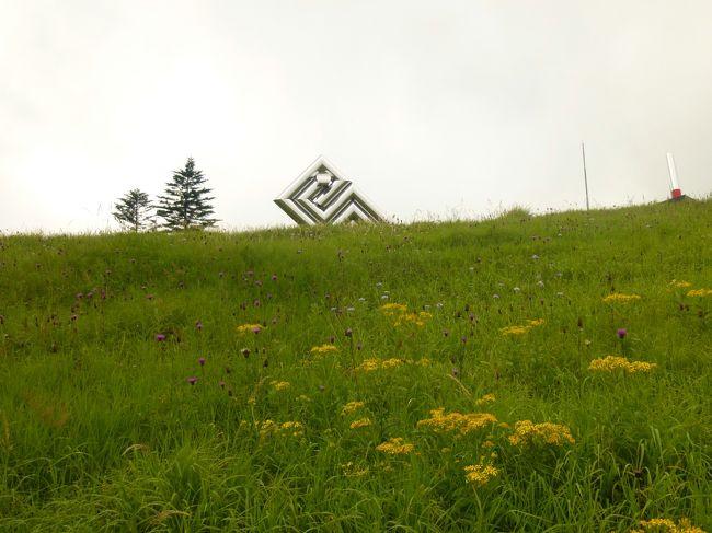 夏休み〜♪暑〜い地元を離れて愛犬ナナも連れ、涼しい高原へ!もうすぐ1歳になるDちゃんの居るMちゃん一家と合流してワイワイ楽しく行ってきました♪<br /><br />11日<br />またビーナスラインをドライブして、美ヶ原高原美術館へ。<br />雲の中って感じで、遠くの山々や下界どころか、近くの彫刻もかすんでた・・なので、半分回っておしまい。<br /><br />山本小屋の方へ行って美しの塔を目指すも、ワンコが歩きたがらなかったので、途中で戻ってきた。<br /><br />帰りは上田の方へ降りて、上信越道経由で帰った。