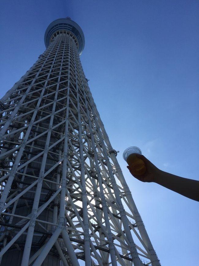 """東京出張時の仕事が早く終わり、かねてより行ってみたかった""""すみだ水族館""""へ行ってまいりました。<br />スカイツリーは平日昼間だというのに長蛇の列で登るのは断念しましたが、""""見上げるビアガーデン""""で明るいうちからの「一杯」を堪能してまいりました。"""