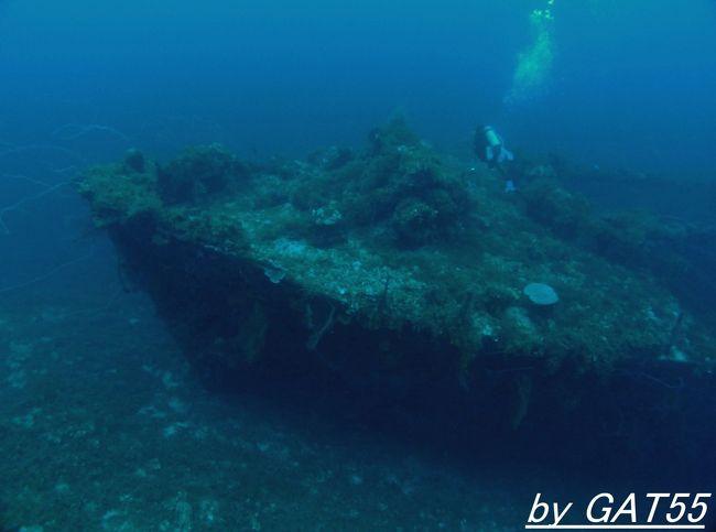 5日~12日までトラック諸島で計16本潜ってきました。<br />12日の1本目は、排水量1999㌧ 全長87mの貨物船の松丹丸。<br />1943年(昭和18年)6月7日に竣工した松岡汽船の貨物船。<br />1943年(昭和18年)8月28日に海軍に徴傭され、一般徴傭船として輸送任務に従事。<br />そして2月17日~18日のトラック空襲(作戦名ヘイルストーン)に参加した空母エンタープライズの艦載機の攻撃を受け後部船倉に爆弾が命中し積載されていたダイナマイトに引火し爆発炎上、Fanamu島西水深55mの海底に水平状態で沈没。<br />黙祷の後、潜行開始。
