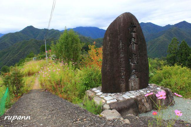 日本一距離の長い路線バス 八木新宮線に乗って十津川村へ<br />奈良県南部・東部地域宿泊者限定路線バス運賃キャッシュバックキャンペーンを利用しました。<br />お宿はふるさと割りクーポンを使用<br />ダブルでお得な路線バスの旅です。<br />お宿は昴の郷 <br />当日の朝は雨 <br />傘を持って出発~こりゃぁ温泉三昧だな...<br />山のくねくね道をバスに揺られて約4時間~雨がやんで♪<br />お宿にチェックインしてフロントで相談<br />今から歩いて行けるとこありますか?<br />果無へ2時間で行ってこれますよ<br />えっ 果無集落へ行けるんですか?!<br />ポスターになってる果無集落へ行けるのかぁ<br />ホテルのスタッフさんにあまりにもさらっと言われたので<br />その気になってマップ通りに歩いた~<br />各所に標識があり、私でも迷わなかったけど<br />たった1㎞の道のりのきつかったこと...<br />果無登山道口で草刈りのおじさんに出会った<br />「今から登るんか きついぞぉ どうしてもしんどかったら<br />大きな家があるからそこで待っとき 車で送ったるわ」<br />「ありがとうございます。 頑張ります~」<br />ずっと上り坂~今朝の雨で野趣溢れる石畳は滑りやすいし<br />ぜぇぜぇしつつ、途中で戻ろうかと...<br />同じお宿の女性が上から降りて来られて<br />「まだ登りますが、もうすぐですよ」<br />頑張るしかないかぁ<br />ポスターになってるお宅に到着~<br />草刈りのおじさんは世界遺産の中で暮らしてるのねぇ<br />青空ではなかったけど 靄と山並みの絶景にしばし時を忘れて<br />天空の田んぼやぁ~天空の彼岸花やぁ~と感動に浸る私なのでした...