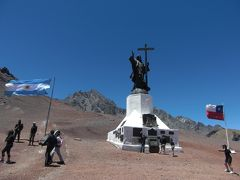 メンド−サからアコンカグアを経て         標高3854mアルゼンチンとチリの国境に建つキリスト像へ!