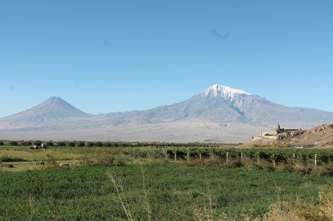 ジョージアからツアーバスでアルメニア国境に移動。<br />アルメニアへ入国する、アルメニアはビザが必要、あらかじめ日本で取得しておく。バスもアルメニアのバスに交代する。<br />アルメニアも農業国、ブドウやワインの生産が盛ん。<br />首都はエレバン、トルコの国境近くの都市。<br />アルメニアはアルメニア正教という独自のキリスト教である、教会の建築様式も独特でとんがった屋根と何層にもなった屋根が特徴、内部はフレスコ画とイコン。古い教会や修道院が多く、また世界遺産に登録もされている。<br />エレバンからはトルコ領のアララット山(5123m)もきれいに見える。<br />隣のトルコとは仲が悪く国境も閉鎖され行き来できない。オスマントルコ時代アルメニア人がトルコのイスタンブールで300万人も虐倖されているからと言われている。<br />