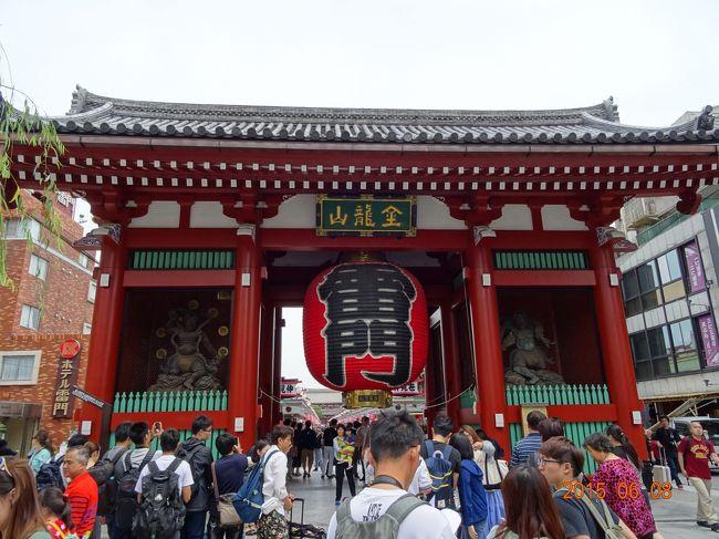 久し振りのはとバスで今回で2回目になります。<br />今日のコースはお台場でランチをして東京タワーに上るコースです。<br /><br />はとバスは時間のロスを少なくするために今回利用いたしました。<br />若いバスガイドさんがとても親切なので <br />地方からの私達も安心して楽しく参加できました。<br />今日もとても良いお天気で 最高の東京観光となり<br />よい思い出として記憶に残しておこうと思います.。o○*。<br /><br />東京駅南口はとバスバス停9時出発~<br />二重橋車窓~桜田門車窓~国会議事堂車窓~半蔵門車窓~浅草観音と仲見世50分~レインボーブリッジを渡り~お台場ホテルグランパシフィック昼食60分~お台場散策50分~明治神宮30分~東京タワー50分のコースに乗車!<br />17時着(東京1日コース)