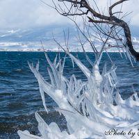 冬の猪苗代湖畔 ~天神浜のしぶき氷と野口英世記念館~