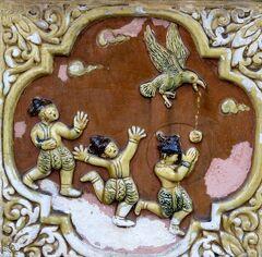 Myanmar ひとりっぷ(3/25 ) ヤンゴン③ シュエダゴォンパヤーの壁の絵