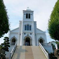 壱岐平戸旅行10-幸橋,一楽の平戸ちゃんぽん,寺院と教会の見える風景,宝亀教会,紐差教会