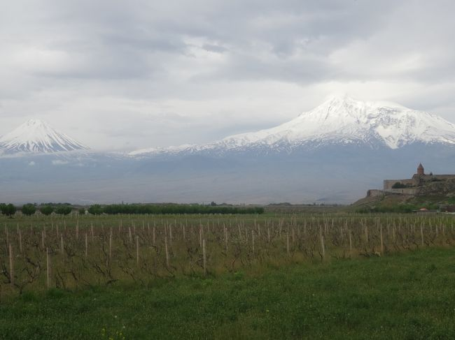 バスでジョージアよりアルメニアに入国します。首都エレヴァンに向かう途中、世界遺産のハフパト修道院を見学し、ハフパト村で昼食。アラガット山を見て、アルメニア文字公園を見学し、H Metropolに2連泊します。<br />翌日はエレバン郊外のホルヴィラップ修道院 アララト山 コウノトリの親子 エチミアジン大聖堂 リプシメ教会 ズヴァルトノツの古代遺跡 ガルニ神殿 ゲガルト修道院を見て、エレバン市内に戻り、共和国広場を見て、その近くで、夕食(民族音楽)。<br />翌日、市内のカスケ-ドを見学し、道端で黒曜石を拾い、セヴァン湖・修道院を見学します。バスで再び、ジョージアに入国し、トビリシの空港に向かい、バクー ドーハで乗り換え、成田に帰国します。<br /><br />⑤5月2日 朝 Hの周囲を散策し、7:30朝食を食べ、9:00バスで出発します。南コーカサス山脈に近づきます。ジョージアの国境の町サダフロに着き、出国(10:28-10:35)。荷物を全部持って、国境(10:40-11:28)のレベツ川の橋を渡ります。アルメニアのビザを取り、入国し、お金の両替をします。緑が多い山の中を進み、ハフプト修道院(12:14-13:00)を小雨の降る中、見学。(辺境の修道院で一番趣がありました。)<br />ハフプト村のHQefoのRで昼食(13:15-14:45)を戴きます。1988年12月7日の大地震で大きな被害があったヴァナゾル スピタクを通り、スピタク峠より荒々しいアラガット山(16:55-17:00)を見ます。アパランの町で休憩。スーパー(17:15-17:40)に寄ります。<br />アルメニア文字公園(18:00-18:15)を見学します。エレヴァン市内に入ると、薄らとアララト山が見えます。18:50着H Metropolで2連泊します。夕食(19:30-21:45)はHのRで戴きます。 <br /><br />⑥5月3日 朝、Hの周囲を散歩します。(ロシアタワー 市庁舎 英国公園 ブルーモスク 聖SargisVicarial教会 ElitHp コニャック工場)朝食後、8:30バスで出発します。市内をアララト山近くのホルヴィラップ修道院に向かいます。途中、アララト山が昨日よりはっきりと見えます。<br />修道院の手前でバスより降り、写真を撮ります。絶景のアングルです。<br />ホルヴィラップ修道院(9:25-10:13)を見学。時間がなく、近くの丘には登りませんでした。アルメニア人の心の拠り所であるアララト山が現在、トルコ領にある事に寂しさを覚えます。(富士山が日本領でない事を考えます。)Masisの町ででコウノトリの親子と巣(10:50-10:55)を観察します。<br />エチミアジン大聖堂(11:20-12:07)を見ます。アルメニア正教の総本山であり世界遺産で敷地内には沢山の建物があり、時間をかけて見学をしたい所です。<br />次に予定に入っていないリプシメ教会(バス下車)とズヴァルトノツの古代遺跡(車窓見学)の写真撮影をアルメニアのガイドさんにお願いしました。OKとの事でした。エレヴァン市内(聖グレゴリウス教会 ハイクの像) チャレント(詩人で紙幣の顔になっています。)の像(13:00-13:10)を下車見学します。<br />ガルニ村で昼食(13:30-14:36)(R MerojakhFamily)観光客が入れ替わり来ます。(鱒が美味しいです。)近くの郵便局で切手を買いました。<br />村の中を歩いて、ガルニ神殿(14:46-15:20)を見学。アザト川渓谷を望む、高台にあります。<br />次に、ゲガルト修道院を見学(15:36-16:30)。到着前に全景を見渡せる所で写真を撮ります。巨岩をくり抜いて作った洞窟修道院です。(インドのエローラ石窟寺院やエチオピアのラリベラの岩窟教会群とここガルニ神殿が巨岩彫り石窟寺院の世界三大地と勝手に決めます。)<br />エレヴァン市内に戻り、スーパー(17:15-18:05)に行きます。疲れたので近くの公園でビールを飲み干しました。<br />最後に共和国広場(18:30-18:45)を見学し、歩いてR「TabephaEpebah」で民族音楽を聞きながら、夕食(18:55-20:30)を戴きます。歩いて、共和国広場の夜景を見て、Hに20:50着きます。今日は見所も多く、充実した1日でしたが、疲れました。<br /><br />⑦5月4日 朝、少しHの周囲を散歩します。7:00朝食、8:00Hを出発。市内を通り、カスケード(8:15-8:54)までバスで登ります。アララト山は昨日の方が綺麗でした。市内を展望し、又、色々な作品を見ながら、彫刻公園に降り、バスに乗り、エレ